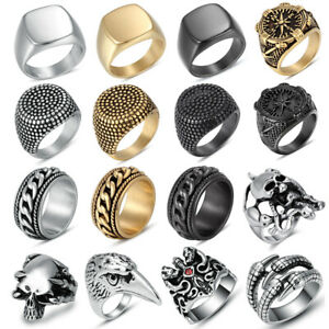 Men#x27;s Stainless Steel Fashion Cool Gothic Punk Biker Finger Rings Male Jewelry $3.99