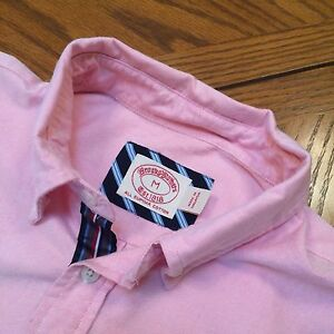EUC Brooks Brothers Red Fleece Sport Shirt Pink Popover Grosgrain Oxford Size M