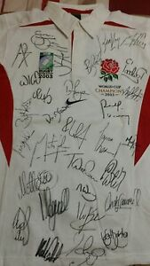 England rugby Nike training shirt signed 2003 by 30 World Cup Winners