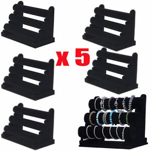 5pc 3Tier Bar Bracelet Watch Table Jewelry Organizer Holder Rack Stand Display V