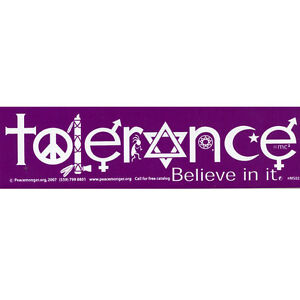 MS002 Tolerance Mini Sticker interfaith atheist coexist