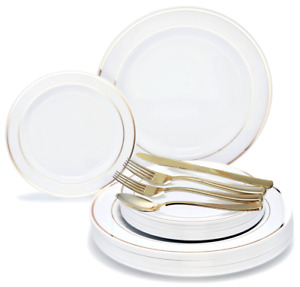 OCCASIONS Wedding Party Disposable Plastic Plates & Gold Silverware - Customize!