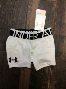 NWT YOUTH GIRLS UNDER ARMOUR HEAT GEAR FITTED White SHORTS SZ Yxs Xs