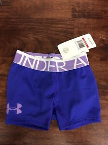 NWT YOUTH GIRLS UNDER ARMOUR HEAT GEAR FITTED Purple SHORTS SZ Yxs Xs
