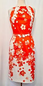 NEW VERSAGE MAIN LINE TROPICAL PRINT BELTED WOMEN'S DRESS SIZE 440 Color Orange