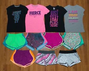 Lot 11 Girl's NIKE Dri-Fit Graphic Shirts Athletic Tempo Running Shorts Small 8
