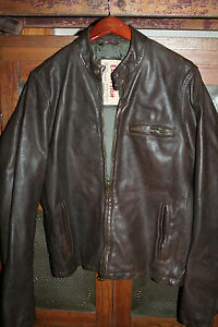 RARE Mens  MLXL Ezra Fitch Abercrombie Brown Leather Motorcycle Bomber Jacket