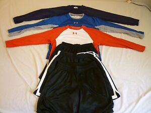 UNDER ARMOUR 3 Shorts & 3 LS Shirts Cold & HeatGear Kids L Great Condition