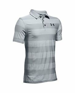 Under Armour Boys' Composite Stripe Polo Overcast GrayStealth Gray Youth L...