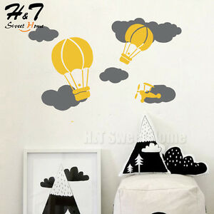 Hot Air Balloon Cloud Helicopter Vinyl Wall Decal Sticker Kids Baby Room Nursery
