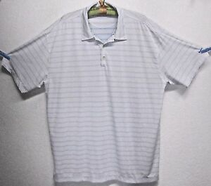 NIKE GOLF FIT DRY MEN'S (2XL) BLUEWHITE STRIPED POLYESTER SS POLO GOLF SHIRT
