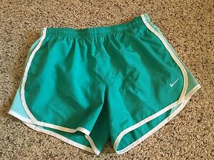 Nike Dry Fit Athletic Running Shorts Girls Sz L Elastic Waist Green