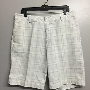 Under Armour Men's Shorts Golf White Grey Brown Stripped W34