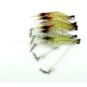 Pack of 5PCs 7.5cm Artificial Noctilucent Shrimp Shad Swimbatis Fishing Lures