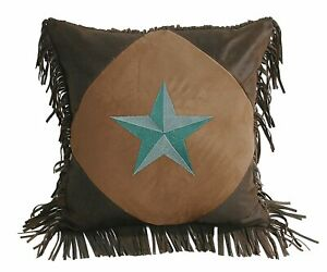 Western Star Pillow Turquoise 18 x 18 Decor HiEnd Accents Fringe Rustic New