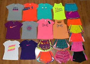 Lot 21 Girl's UNDER ARMOUR NIKE Graphic Athletic Shorts Shirts Large LYG 1416
