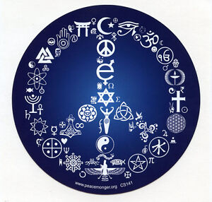 CM052 Coexist Peace Symbol Interfaith Original Color Mini Sticker