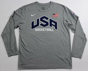 NIKE USA OLYMPIC BASKETBALL DRI-FIT LONG SLEEVE WARM UP SHOOTER T SHIRT MENS L