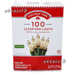 Holiday Time 100 Clear Mini Lights Christmas Wedding NEW Green Wire