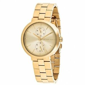 NWT Michael Kors Women's Garner Gold-Tone Stainless Steel Bracelet Watch MK6408