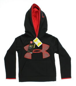Under Armour 0297 Boys Storm Armour Fleece Highlight Big Logo Hoodie Black Red