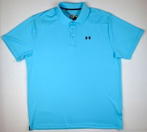 Under Armour 1469 Athletic Mens Performance Polo Loose Fit Island Blues 2XL