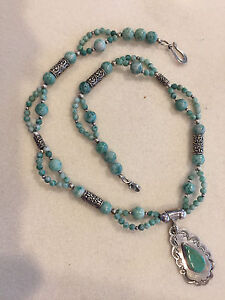 Turquoise and semi-precious Chinese Jade necklace and earring set