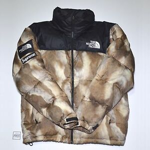 Supreme TNF The North Face Fur Print Nuptse Jacket (Medium); Box Logo Sade