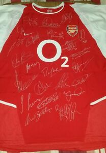 Arsenal invincibles year Nike shirt signed by 23 XL tagged 2003-2004 with COA.