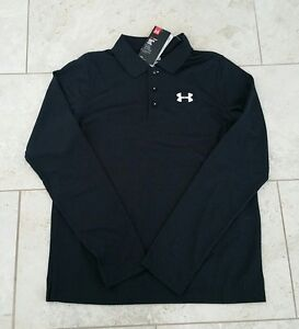 New Under Armour UPF 30 Youth Boys Golf Polo Black Long Shirt T-Shirt Small
