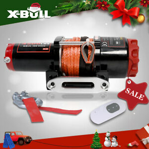 X-BULL 4500LBS Electric Winch 12V ATV UTV Winch Towing Truck 4WD Synthetic Rope