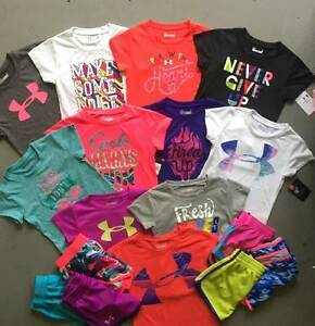 GIRLS 2T UNDER ARMOUR LOT OF 6 OUTFITS SHIRTS SKIRT & SHORTS NWT