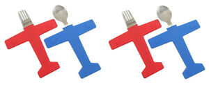 Kids Airplane Fork/Spoon Set Stainless Steel Food Grade Silicone 2 PACK