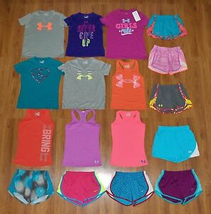 Lot 17 Girl's UNDER ARMOUR NIKE Graphic Athletic Shorts Shirts Small YSM 78