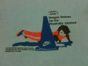 vtg NIKE T SHIRT 1980 80S BLUE TAG OREGON GAMES NO RAYON