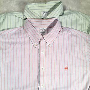 Mens Brooks Brothers XL Lot 2 Slim Fit Button Down Non-Iron Logo Sport Shirts