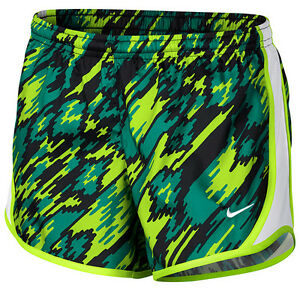 NWT NIKE GIRLS' TEMPO ALL-OVER PRINT TENNISRUNNING SHORTS (GRNBLK) 805574-351