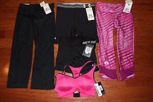 LOT UNDER ARMOUR NIKE WOMENS FITTED COMPRESSION CAPRIS SHORTS SPORTS BRA XS NWT