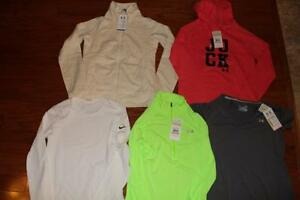 LOT UNDER ARMOUR NIKE WOMENS RUNNING SHIRTS STORM SHERPA FULL ZIP SMALL NWT NEW