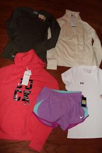 LOT UNDER ARMOUR NIKE WOMENS SHIRTS INFRARED TACTICAL SHORTS SHERPA HOODIE S NWT