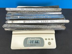 22 LBS VINTAGE TIN  LEAD BARS STAMPED  33CE  RELOADING CASTING SINKERS MELTING