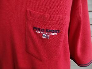 VINTAGE 90s Polo Sport Ralph Lauren Red Short Sleeve Polo Shirt XL L Spell out