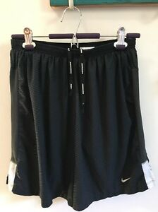Nike Running Dri Fit Shorts Black Lined Men's Large Excellent