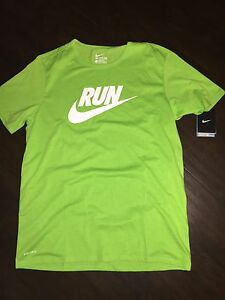 Men's Nike Bright Green Run Athletic Shirt Large L New $35