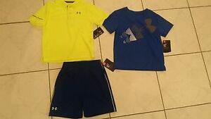 NWT boys size 2T LOT Under Armour polo top + shorts + t-shirt heat gear