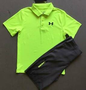 BOY'S LARGE (1416) UNDER ARMOUR FUEL GREEN POLO & GRAY SHORTS GOLF OUTFIT NWT