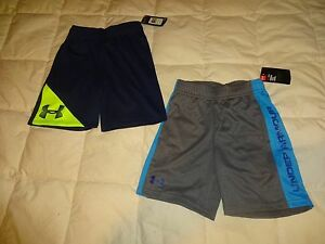 NEW Lot of 2: Boys UNDER ARMOUR Shorts size 4 4T Blue & Gray