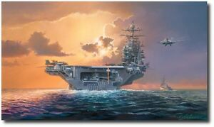 Dawn Operations, Abe Lincoln Style by Rick Herter F A 18 Hornet Aviation Art