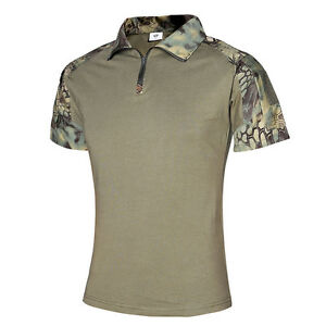 Summer Men Camo Print Slim Fit Tops T-Shirt Short Sleeve Quick Dry Blouse Shirts