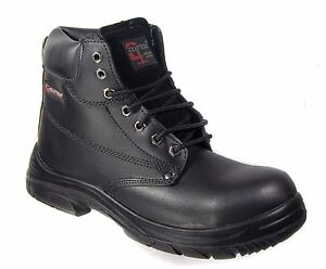 Mens Safety Work Boots Super Wide EEEE Leather Steel Toe Cap Laced Grafters
